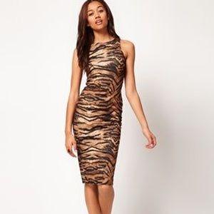ASOS River Island Tiger Midi Body-Conscious Dress